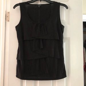 Talbots Size S Black Ruffle Front Top